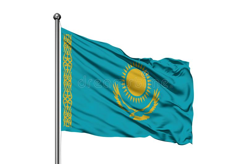 Flag of Kazakhstan waving in the wind, isolated white background. Kazakh flag stock images