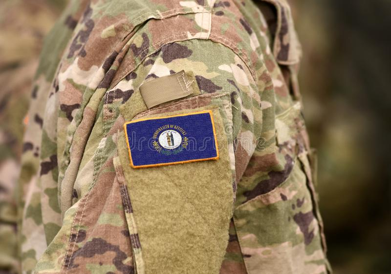 Flag of Kentucky on military uniform. United States. USA, army, soldiers. Collage.  stock image