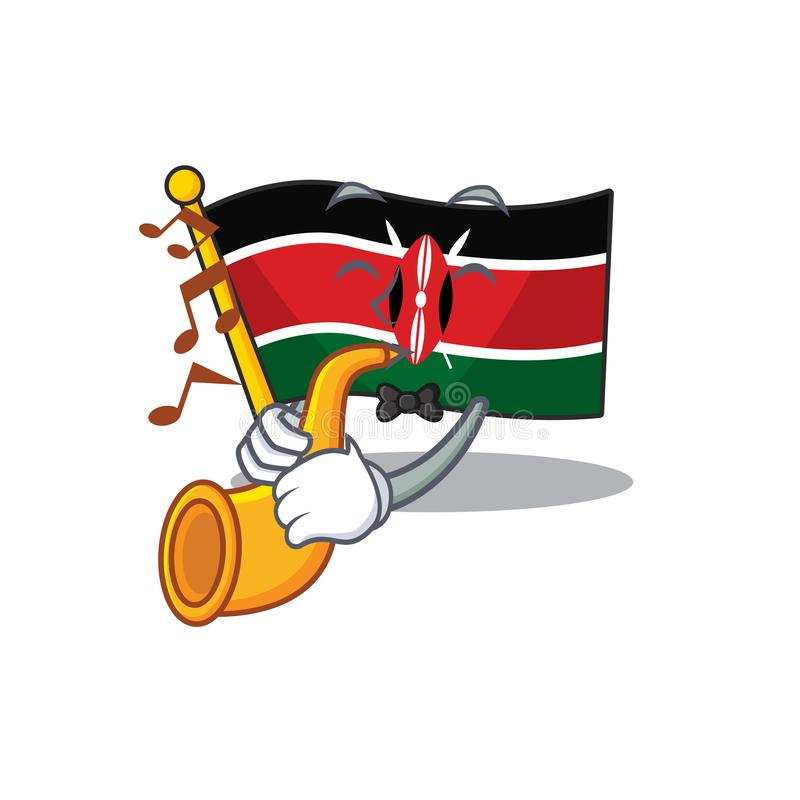 Flag kenya mascot in shape character with trumpet. Vector illustration stock illustration