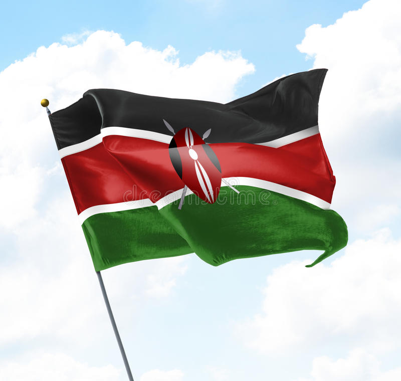 Flag of Kenya. Raised Up in The Sky royalty free stock images