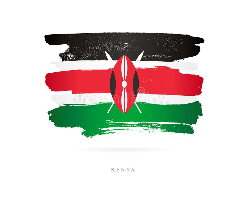 Flag of Kenya. Abstract concept. Flag of Kenya. Vector illustration on white background. Beautiful brush strokes. Abstract concept. Elements for design stock illustration