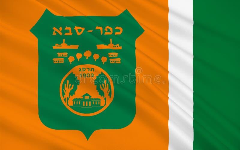 Flag of Kfar Saba, Israel. Flag of Kfar Saba officially Kfar Sava, is a city in the Sharon region, of the Center District of Israel. 3d illustration stock illustration