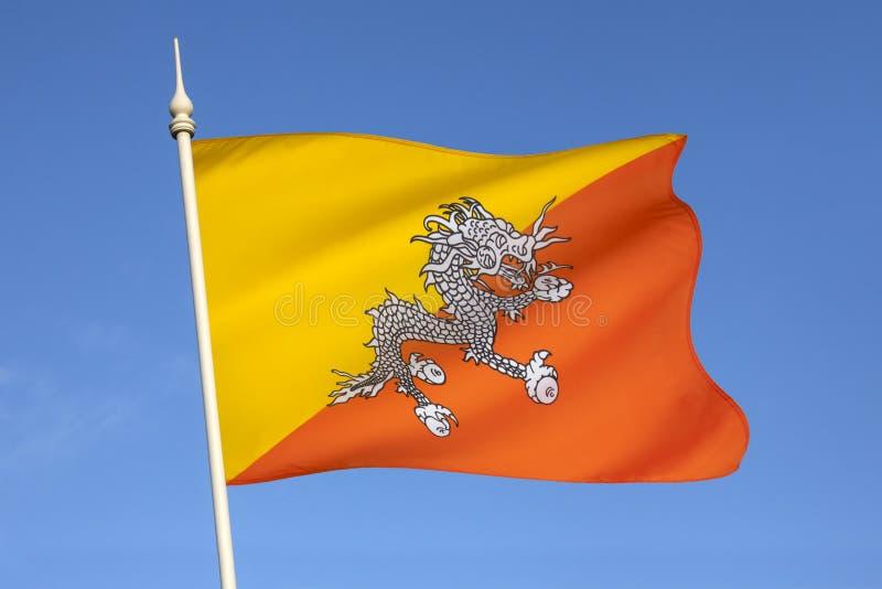 Flag of the Kingdom of Bhutan stock photo