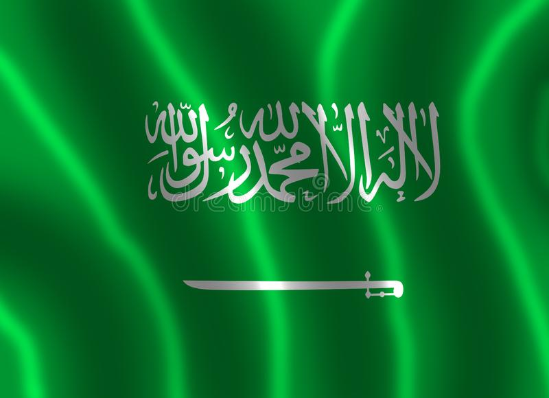 The flag of the Kingdom of Saudi Arabia with waves. The flag of Saudi Arabia has a green field with large white Arabic writing above a white horizontal sword the stock illustration