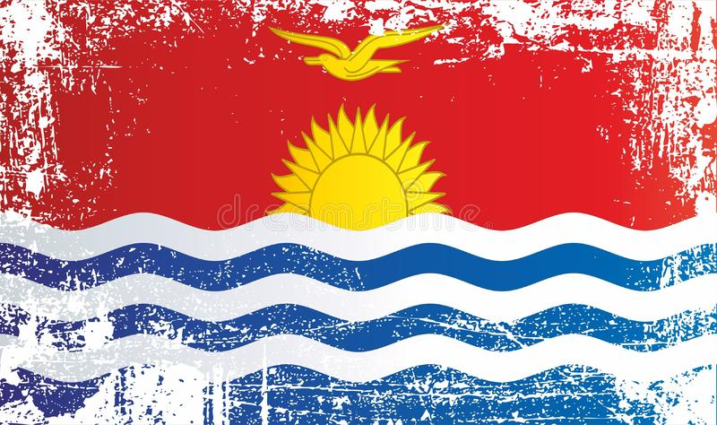 Flag of Kiribati. Wrinkled dirty spots. Can be used for design, stickers, souvenirs royalty free illustration