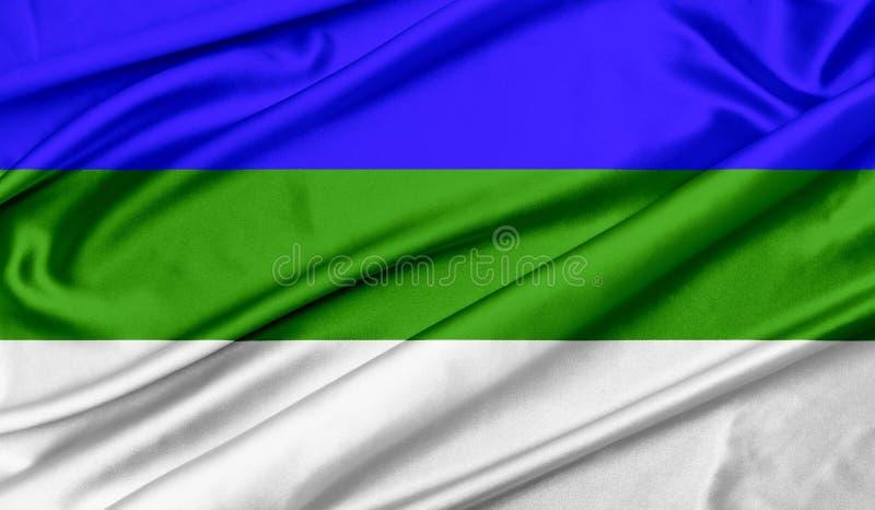Flag of Komi texture background. Flag of Komi wave silk texture background royalty free stock photos