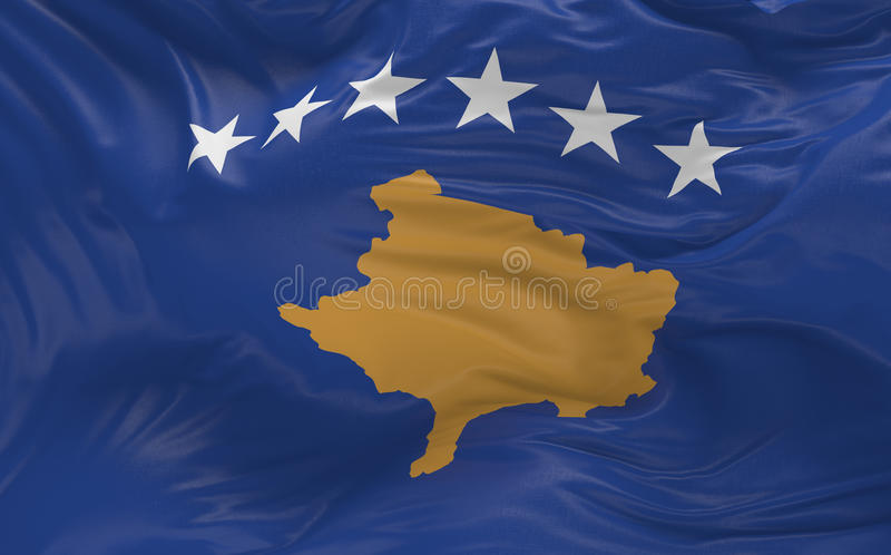 Flag of the Kosovo waving in the wind 3d render royalty free illustration