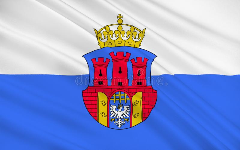Flag of Krakow, Poland. Flag of Krakow also Cracow or Krakow is the second largest and one of the oldest cities in Poland stock illustration
