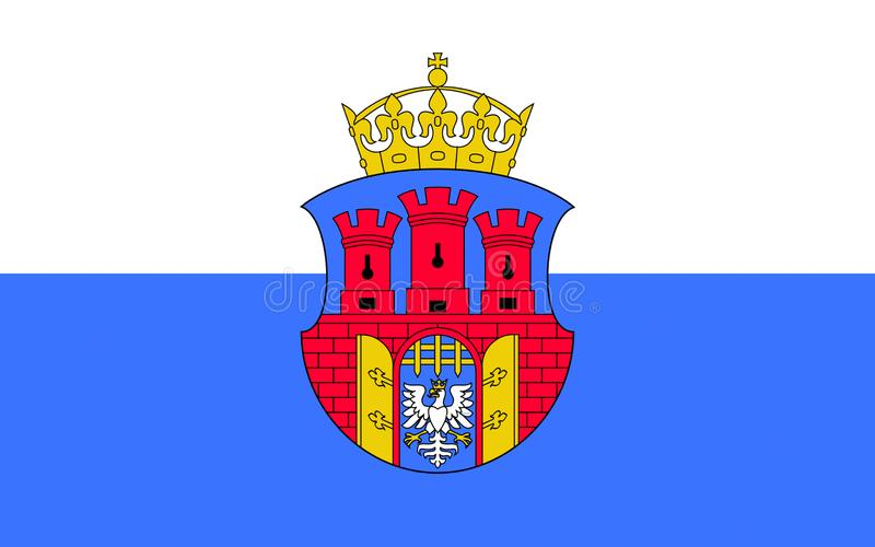 Flag of Krakow, Poland. Flag of Krakow also Cracow or Krakow is the second largest and one of the oldest cities in Poland royalty free illustration