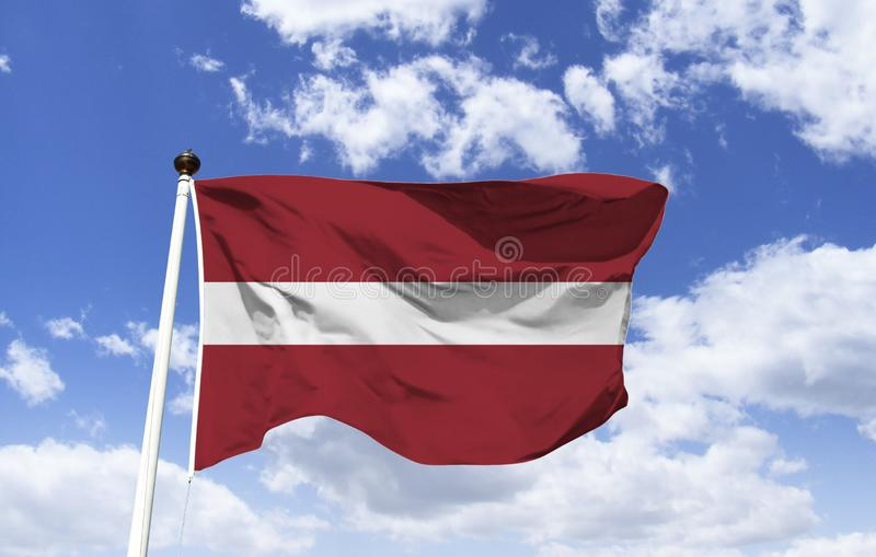Flag of Latvia, related to a legend of the country. Flag of Latvia, two stripes bordering the middle of the white color, the colors of the Latvian flag are stock image