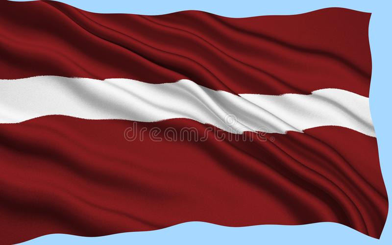 Flag of Latvia. Used by independent Latvia from 1918 until the country was occupied by the Soviet Union in 1940. Its use was suppressed during Soviet rule royalty free stock photography