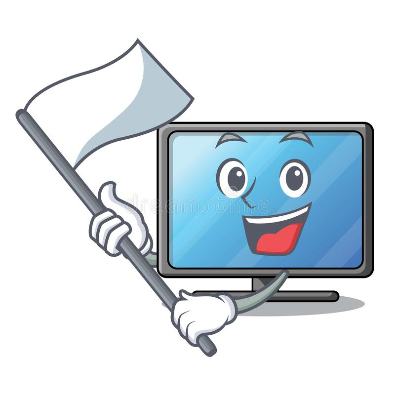 With flag lcd tv isolated with the character stock illustration