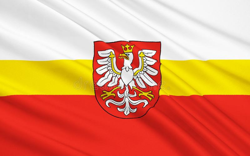 Flag of Lesser Poland Voivodeship in southern Poland. Flag of Lesser Poland Voivodeship or Małopolska Province in southern Poland stock photos