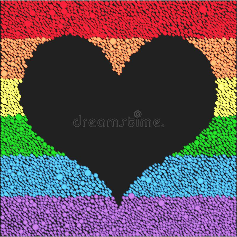 Flag lgbt for celebration. Heart peace pride gay. Holiday lgbt frame heart with dots, points for card poster, banner, backdrop. Element heart for design love stock illustration