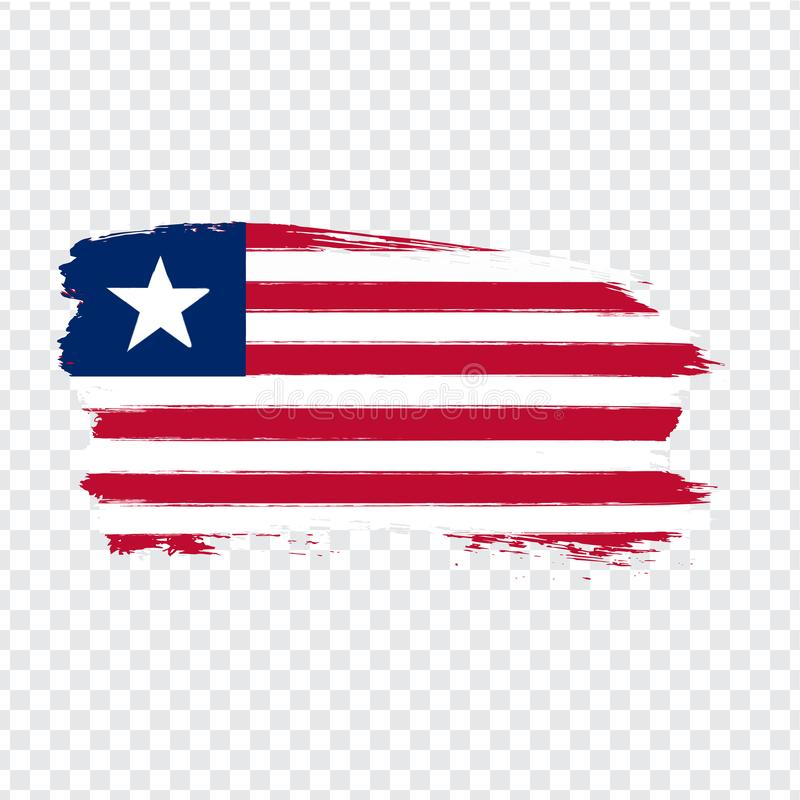Flag Liberia  from brush strokes. Flag Republic of Liberia on transparent background for your web site design, logo, app, UI. Stock vector.  EPS10 vector illustration