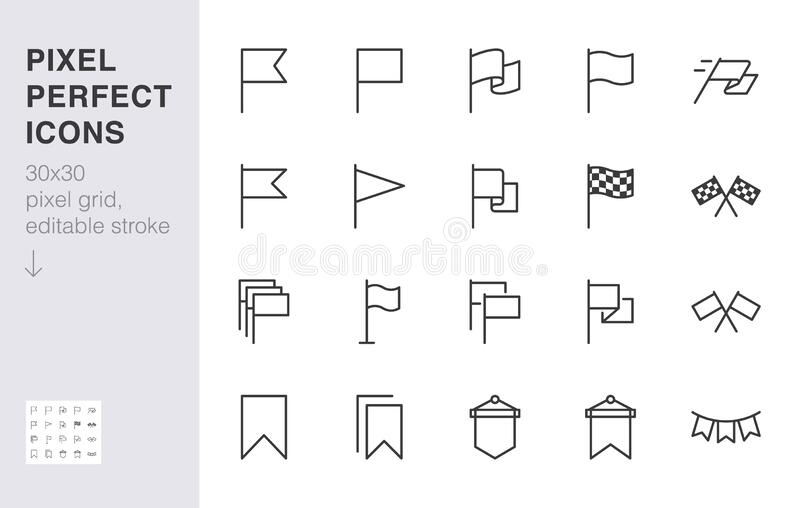 Flag line icon set. Checkered flags, location marker, waving pennant, bookmark, pin minimal vector illustrations. Simple royalty free illustration
