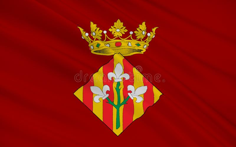 Flag of Lleida is a city in the west of Catalonia, Spain. Capital city of the province of Lleida stock photography