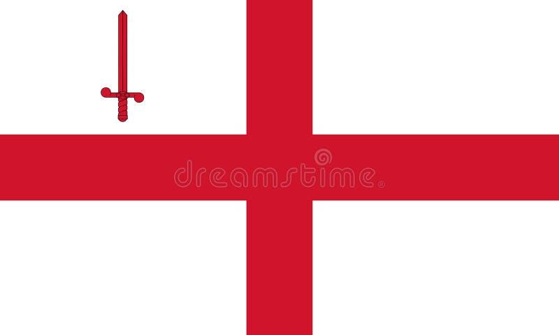 Flag of London city, United Kingdom. London city official flag. United Kingdom. Flag of capital of the Great Britain royalty free illustration