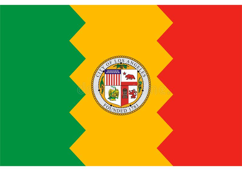 Flag of Los Angeles. Jpg format available red yellow green stripes vector illustration
