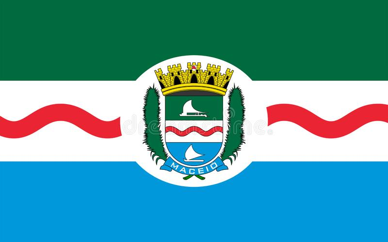Flag of Maceio in Alagoas, Brazil. Flag of Maceio is the capital city of the coastal state of Alagoas, Brazil. 3d illustration stock illustration