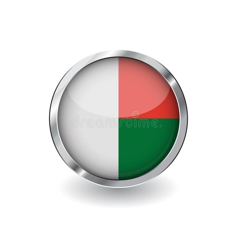 Flag of madagascar, button with metal frame and shadow. madagascar flag vector icon, badge with glossy effect and metallic border. Realistic vector stock illustration