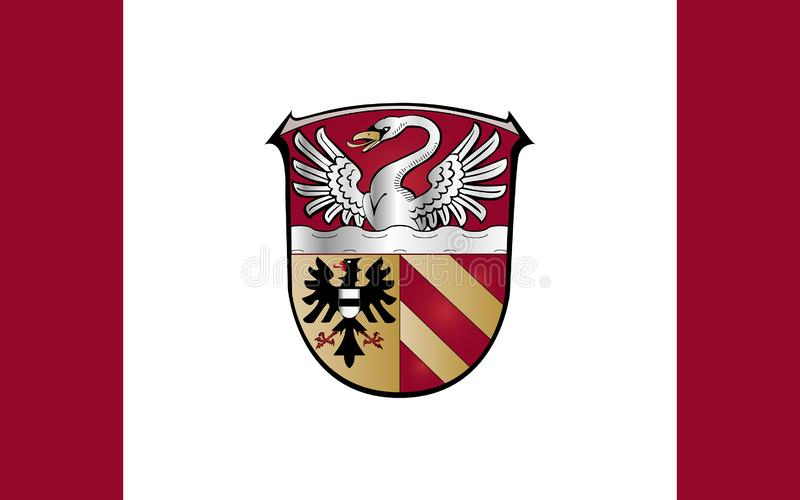 Flag of Main-Kinzig-Kreis in Hesse the land of Germany. Flag of Main-Kinzig-Kreis is a district in the east of Hesse, Germany. 3d illustration royalty free illustration