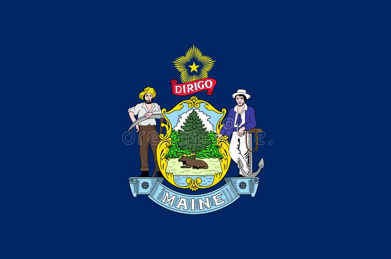 Flag of Maine state of USA stock image