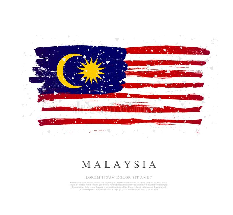 Flag of Malaysia. Brush strokes are drawn by hand. Independence Day vector illustration