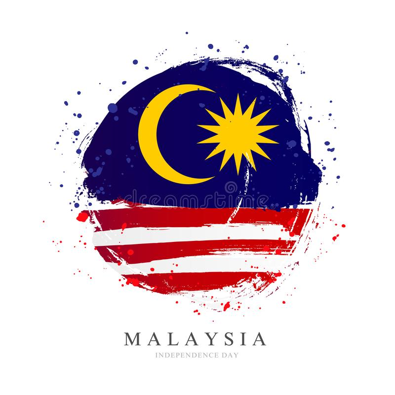 Flag of Malaysia in the shape of a big circle royalty free illustration