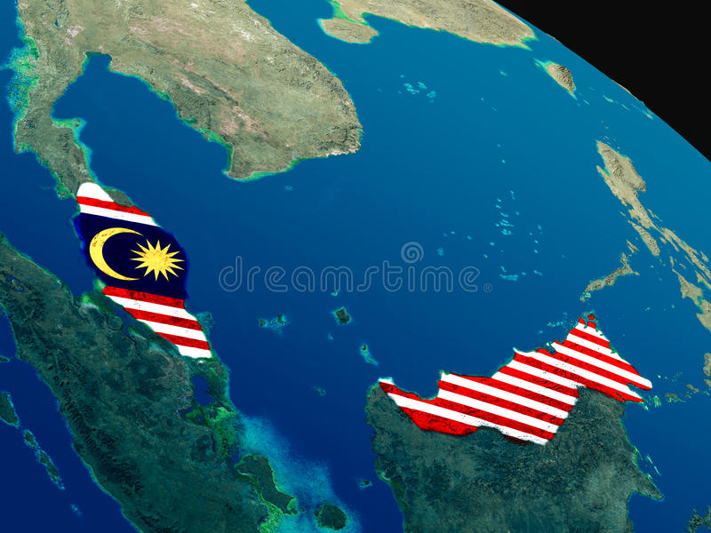 Download Flag Of Malaysia From Space Stock Illustration - Image: 83721740