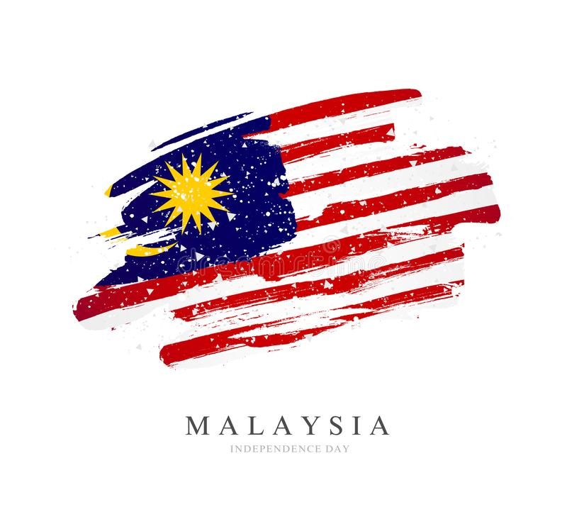 Flag of Malaysia. Vector illustration on a white background stock illustration