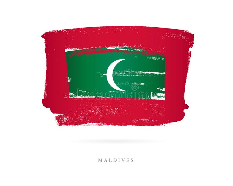 Flag of the Maldives. Abstract concept. Flag of the Maldives. Vector illustration on white background. Beautiful brush strokes. Abstract concept. Elements for stock illustration