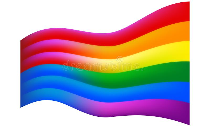 Flag with the male and female color turns into a rainbow flag of pride lgbt and lgbtq. Rainbow vector background for gay, lesbian royalty free illustration