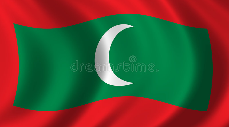 Flag of Maledives. Waving in the wind stock illustration