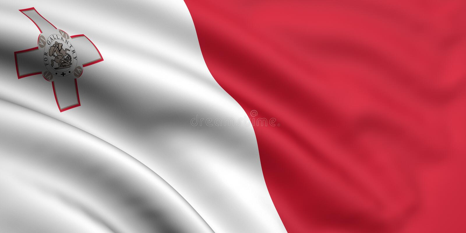 Flag Of Malta. 3d rendered and waving flag of malta