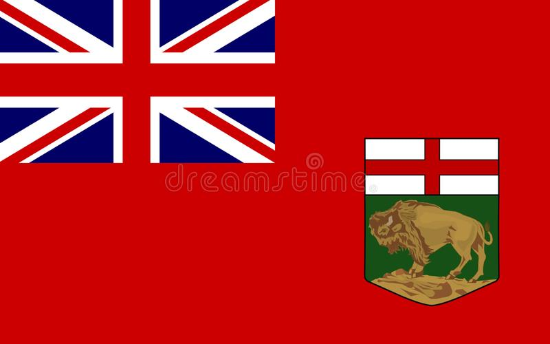 Flag of Manitoba, Canada. Flag of Manitoba is a province located at the longitudinal centre of Canada vector illustration