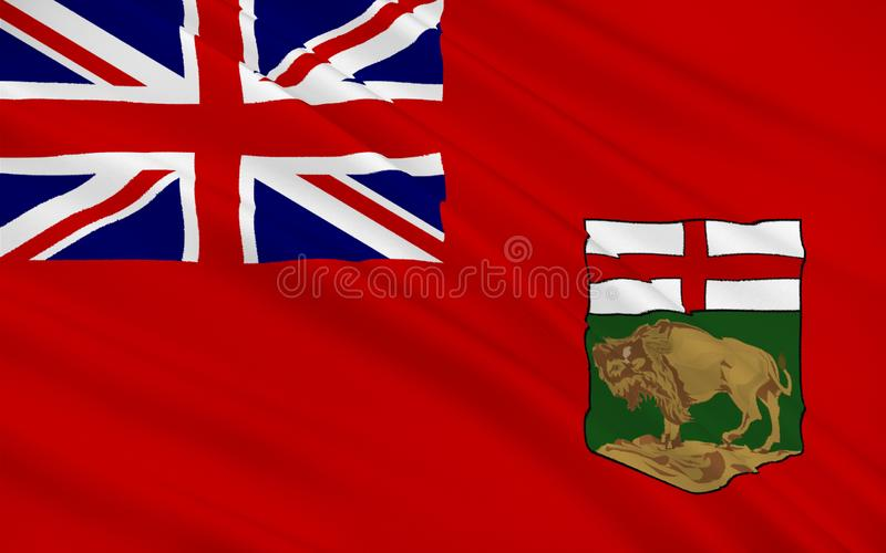 Flag of Manitoba, Canada. Flag of Manitoba is a province located at the longitudinal centre of Canada stock illustration