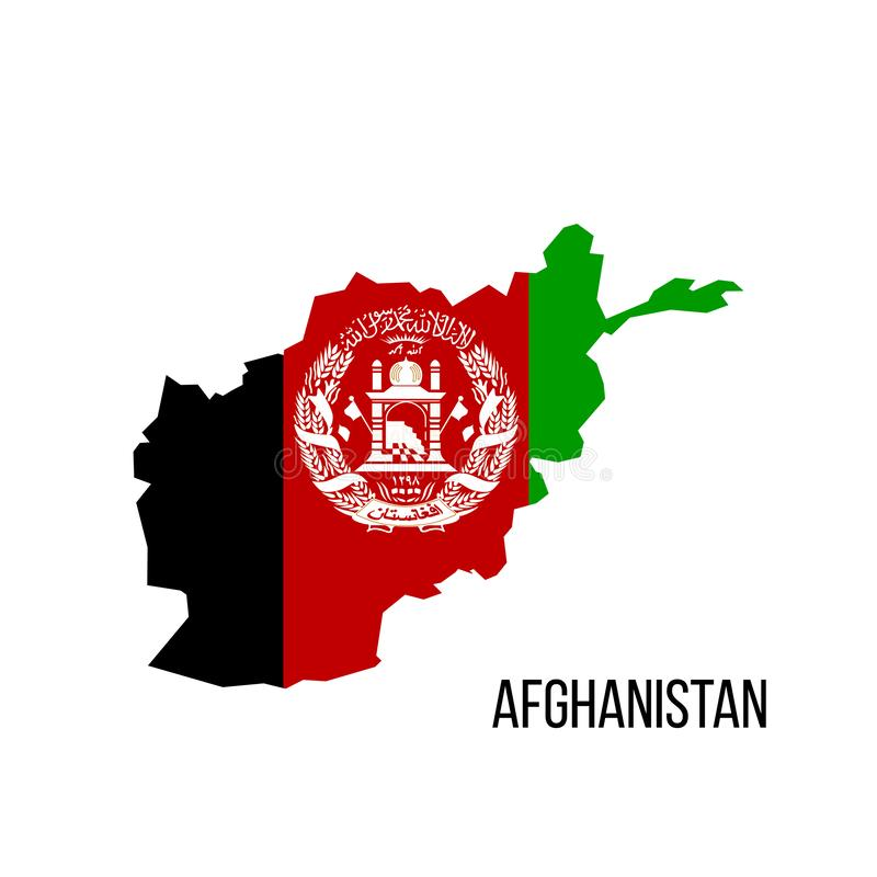 flag map Afghanistan. Vector illustration isolated on white background royalty free illustration