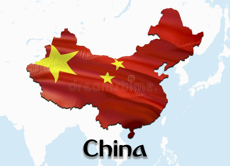 Flag Map of China. 3D rendering China map and flag on Asia map. The national symbol of China. Beijing flag map background image. Download HD.China royalty free stock images