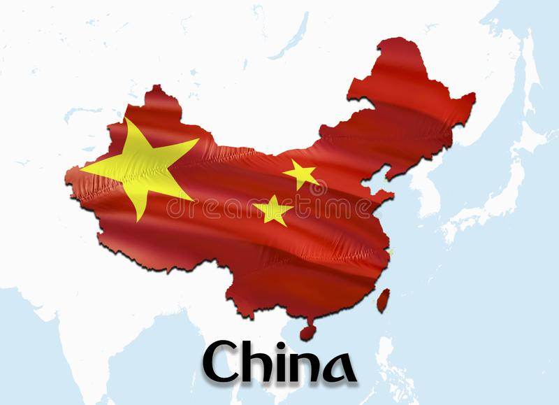 Flag Map of China with Taiwan. 3D rendering China map and flag on Asia map. The national symbol of China. Beijing flag map royalty free stock images