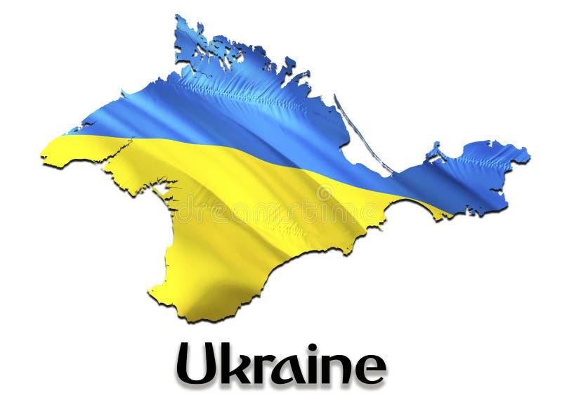 Flag Map of Crimea. 3D rendering Ukraine Crimea map and flag. The national symbol of Crimea. National waving Ukrainian flag. Colorful concept 3D pattern vector illustration