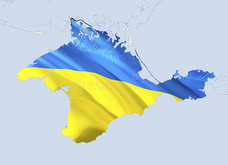 Flag Map of Crimea. 3D rendering Ukraine Crimea map and flag. The national symbol of Crimea. National waving Ukrainian flag. Colorful concept 3D pattern stock illustration