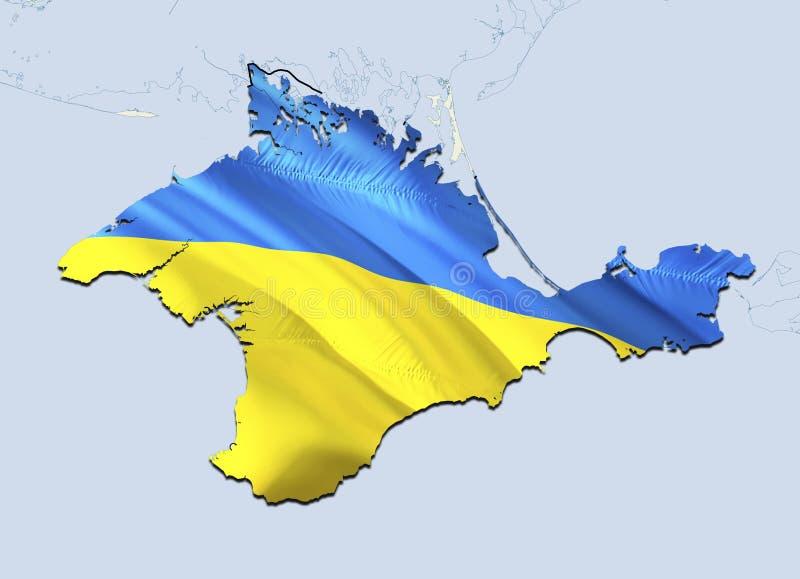 Flag Map of Crimea. 3D rendering Ukraine Crimea map and flag. The national symbol of Crimea. National waving Ukrainian flag. Colorful concept 3D pattern royalty free illustration