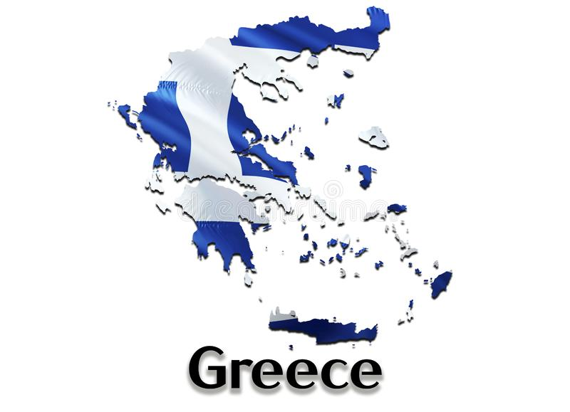 Flag Map of Greece. 3D rendering Greece map and flag. The national symbol of Greece. National waving flag colorful concept 3D vector illustration