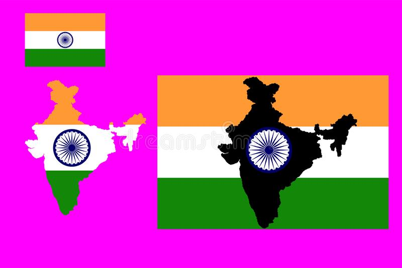 Flag and map of India Vector illustration. Eps 10 vector illustration