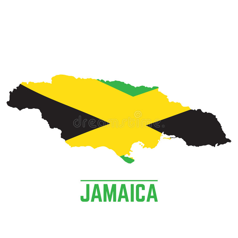 Flag and map of Jamaica stock illustration