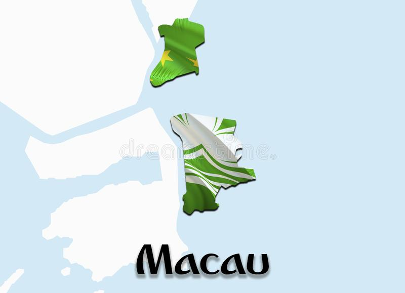 Flag Map of Macau. 3D rendering Macau map and flag on Asia map. The national symbol of Macau. China flag map background image royalty free illustration