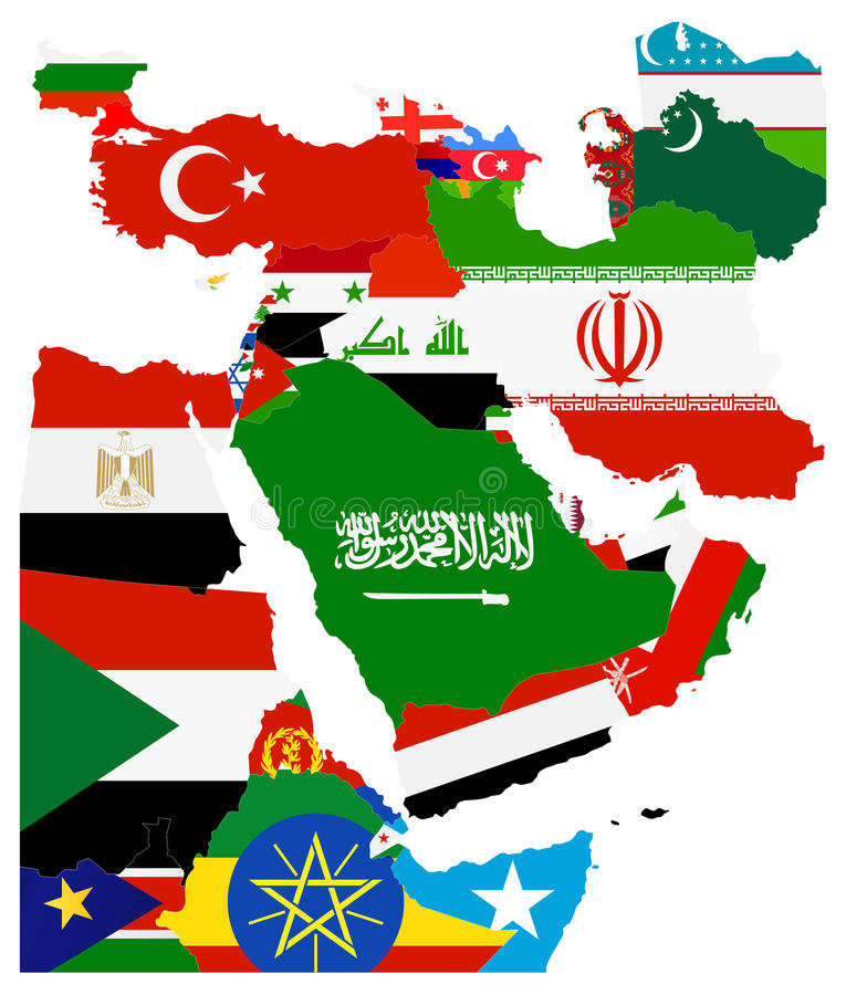 Download Flag Map Of The Middle East Stock Vector   Illustration Of Border,  World: