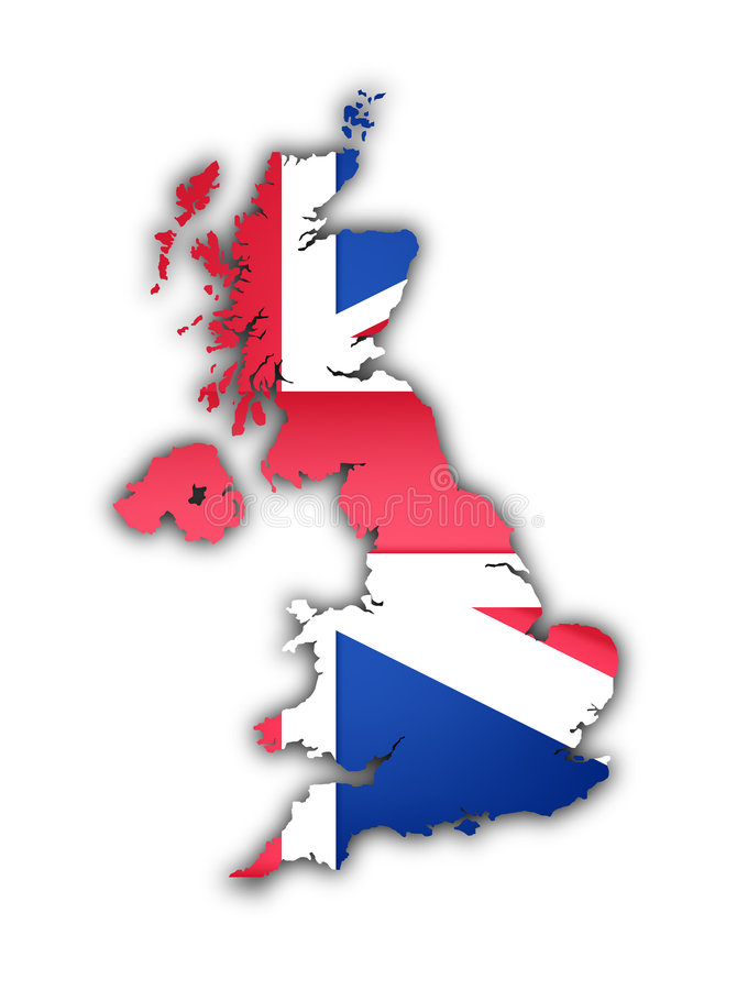 Flag and map of the united kingdom. On white background vector illustration