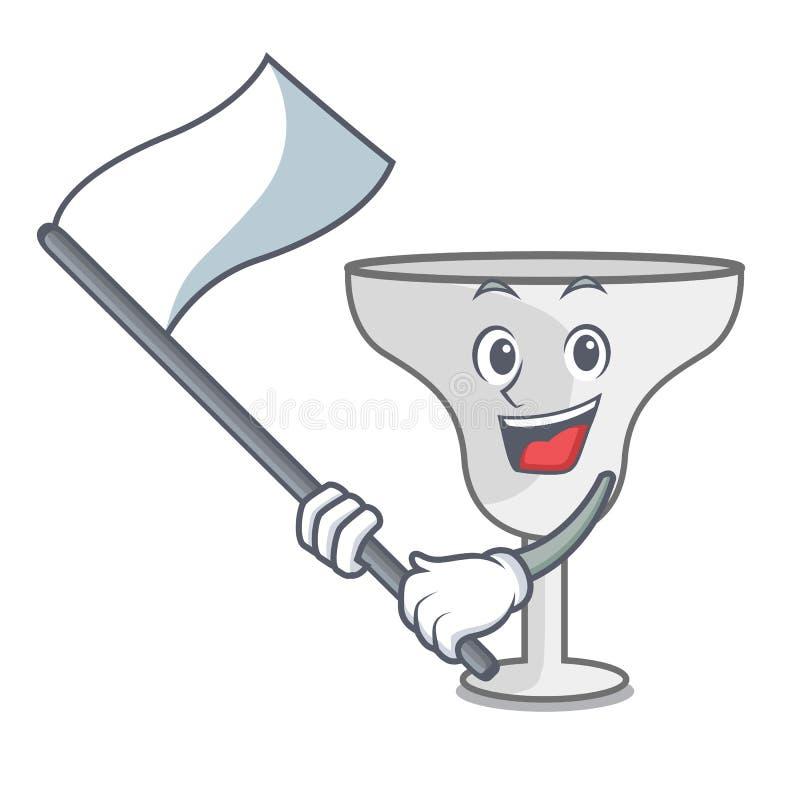 With flag margarita glass mascot cartoon. Vector illustration royalty free illustration